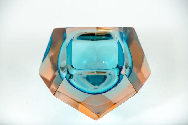 Cendrier vintage Sommerso, en verre de Murano des années 50 attribués à Flavio Poli