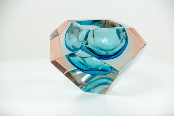 Cendrier vintage, en verre de Murano des années 50 attribués à Flavio Poli