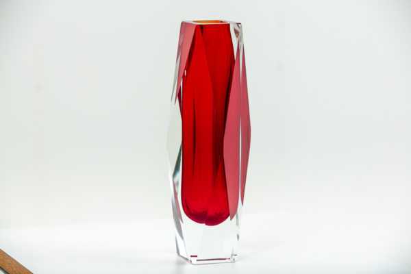 Vase vintage Sommerso, en verre de Murano des années 50 attribués à Flavio Poli