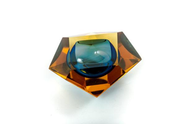 Cendrier vintage Sommerso en verre de Murano des années 50 attribués à Flavio Poli