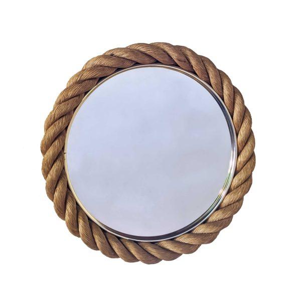 Miroir en corde tressée, réalisé dans les années 50 par le couple de designers français Adrien Audoux et Frida Minet, en très bel état d'origine.