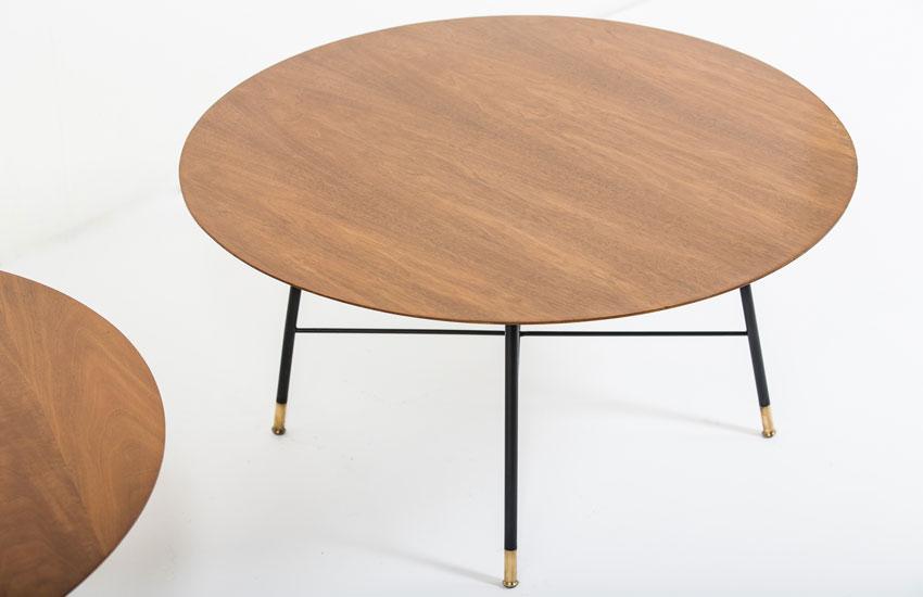 tables vintage 1950 d'Ico Parisi pour Cassina en noyer, métal laqué noir et laiton
