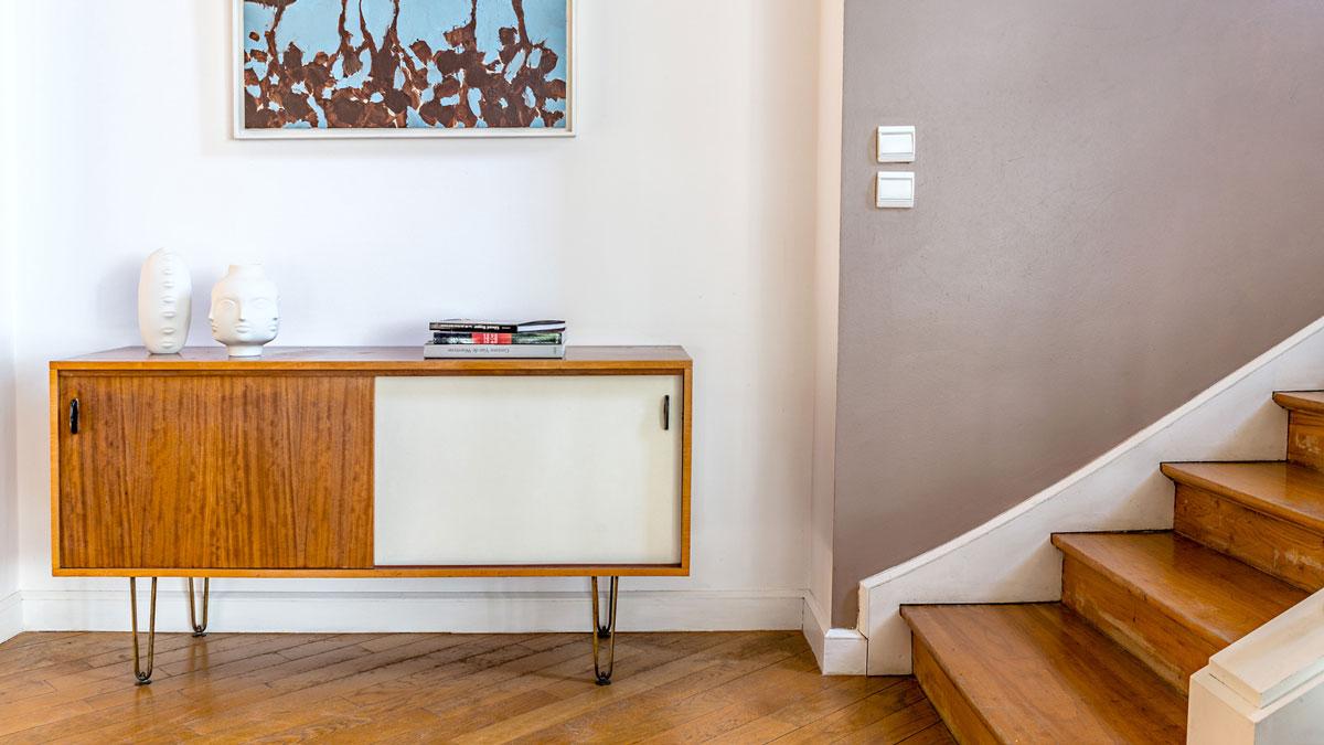 Décoration maison, style vintage, meuble danois des années 60 d'Alfred Hendricks.