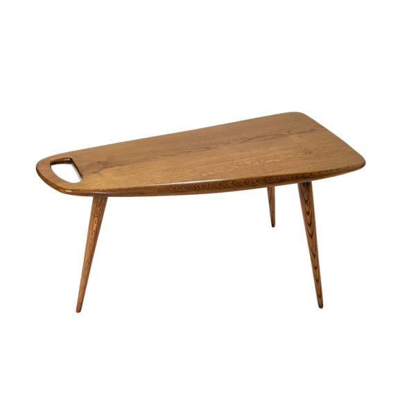 table basse vintage, de forme libre en chêne massif de Pierre Cruège, édition Formes dans les années 50.
