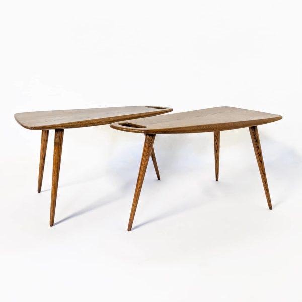 tables basses de forme libre en chêne massif de Pierre Cruège, édition Formes dans les années 50.