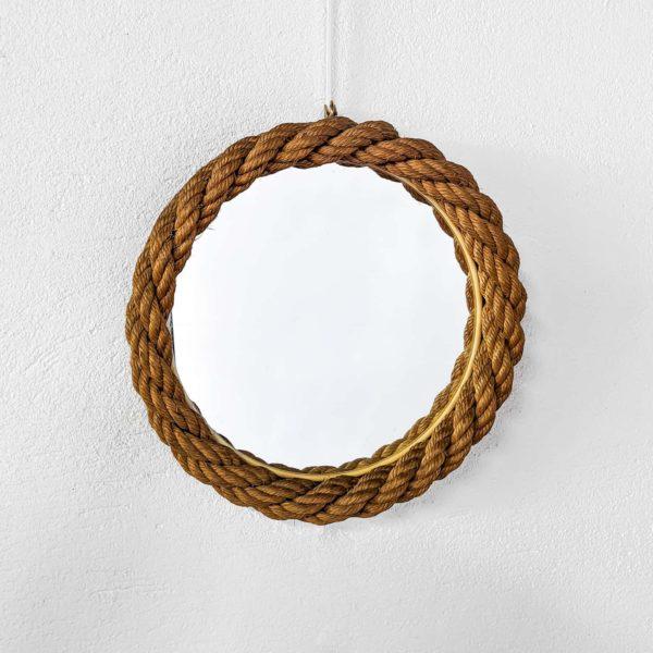 miroir rond vintage en corde tressée, réalisé par Audoux et Minet dans les années 50