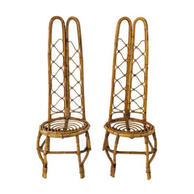 Paire de chaises vintage en bambou d'origine italienne des années 60
