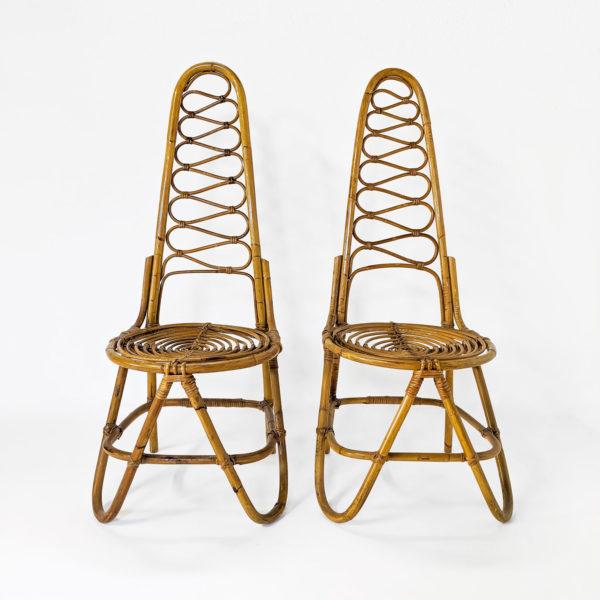 Paire de chaises vintage en bambou éditée par Bonacina dans les années 60