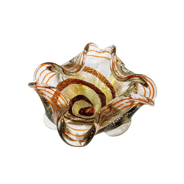 Cendrier vide poche vintage en verre de Murano orange et doré