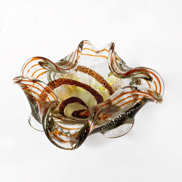 Cendrier vintage en verre de Murano orange et doré