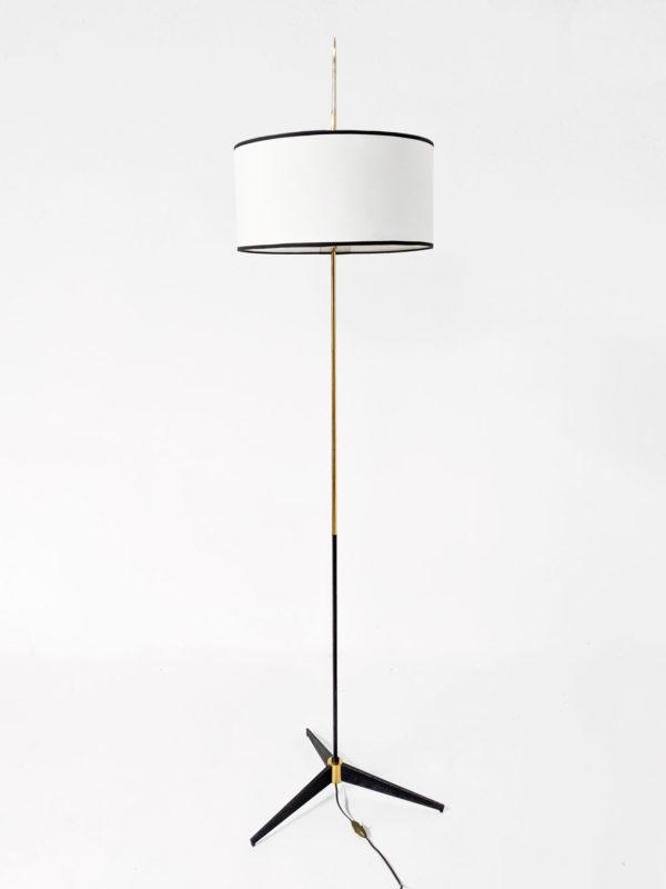Lampadaire vintage Arlus en laiton doré et métal laqué noir