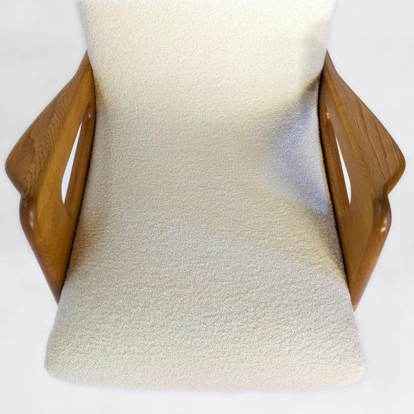 Paire de fauteuils vintage des années en chêne, métal et tissu
